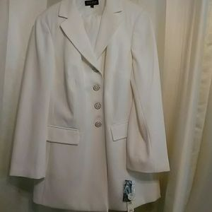 Two piece all white pinstripe suit